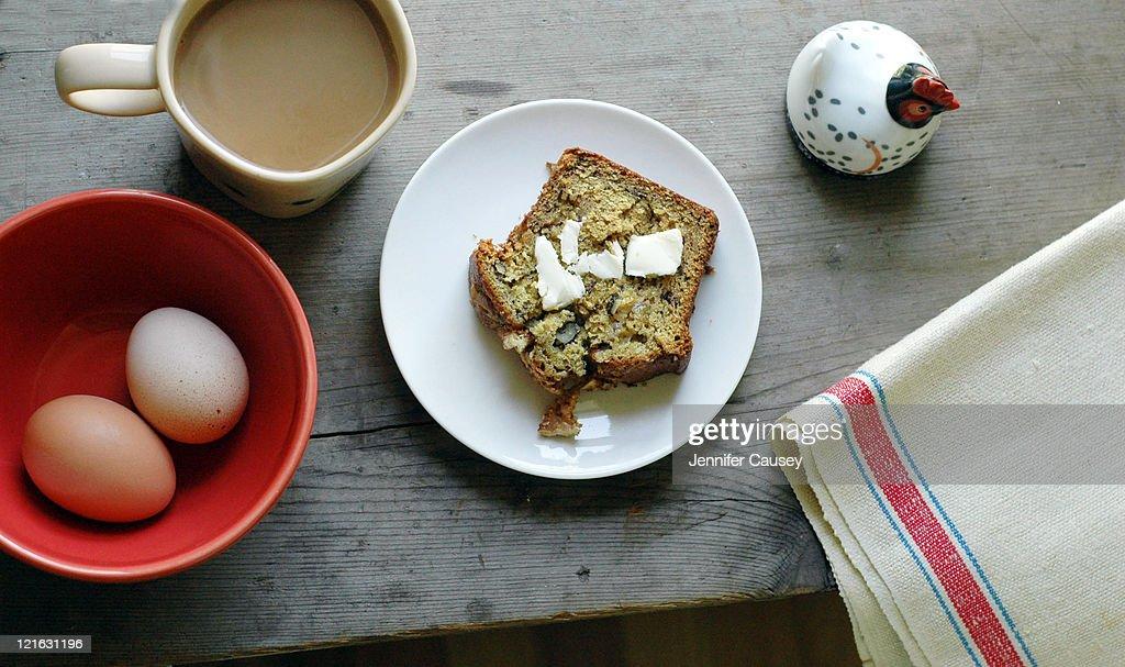 Banana bread for breakfast : Stock Photo