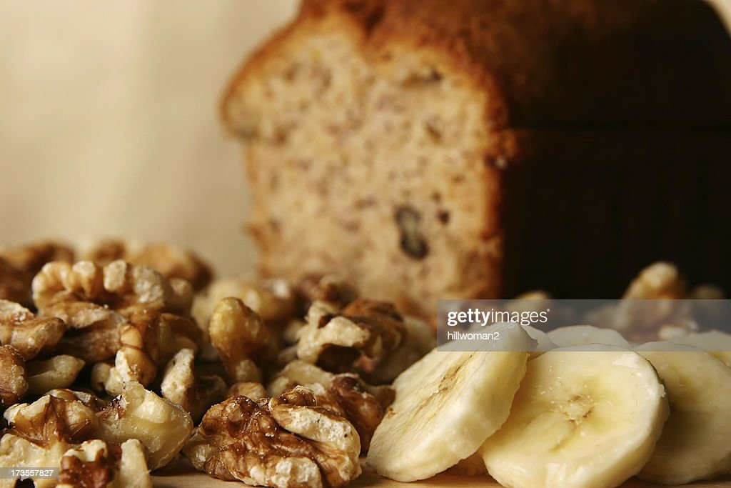 Banana Bread: Ingredients : Stock Photo
