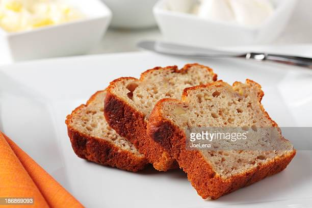 Banana Bread Slice On White Plate