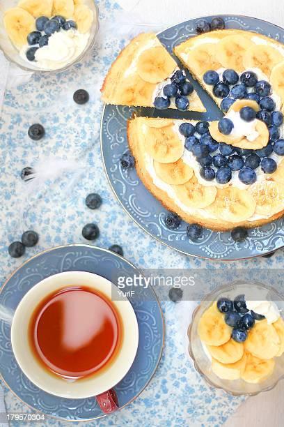 Banana cake and tea.