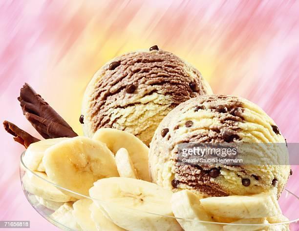 Banana chocolate ice cream, close-up