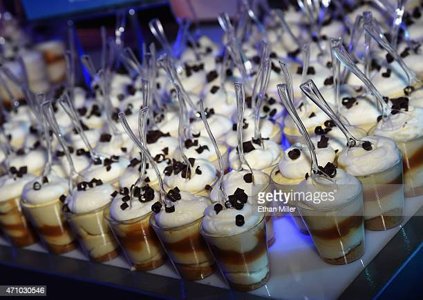 Banana cream pie parfait desserts are served at the Emeril's New Orleans Fish House booth during Vegas Uncork'd by Bon Appetit's Grand Tasting event...