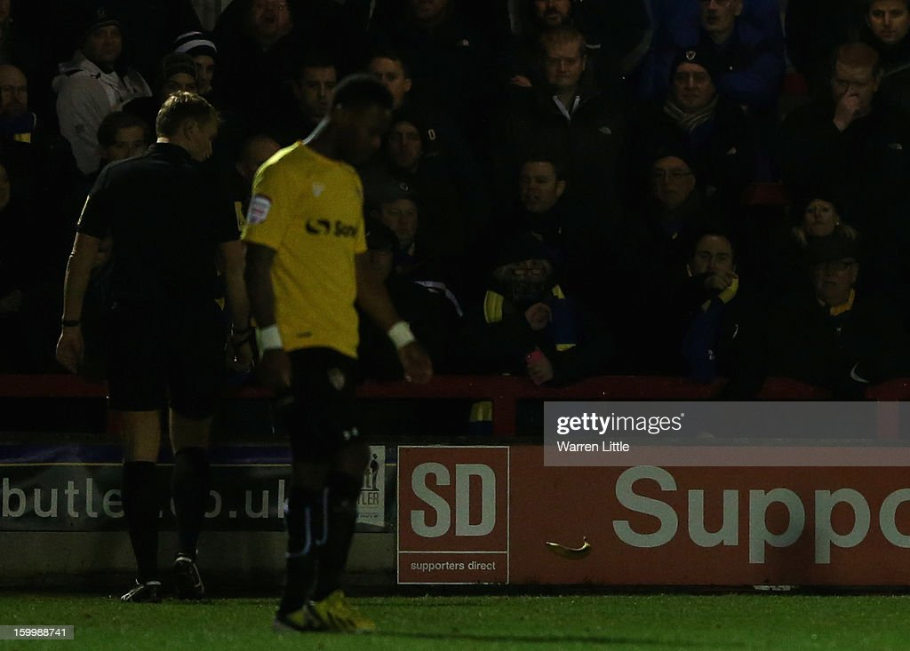A banana is thrown on the pitch during the npower League Two match between AFC Wimbledon and Port Vale at The Cherry Red Records Stadium on January 24, 2013 in Kingston upon Thames, England.