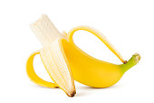 banana isolated on white background, clipping path, full depth of field