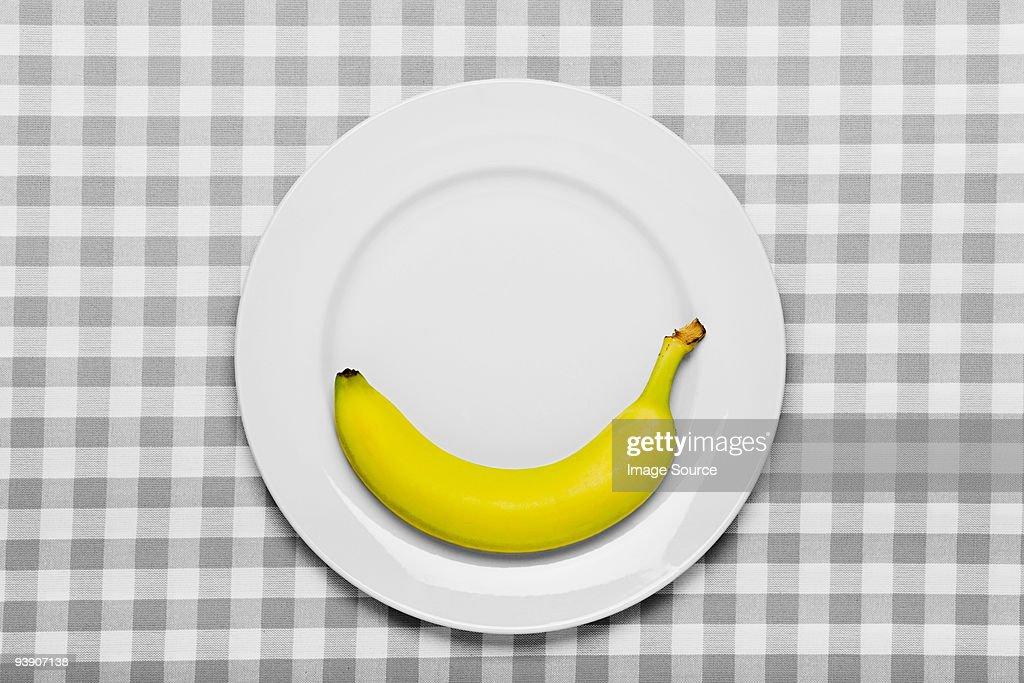 Banana on a plate : Stock Photo