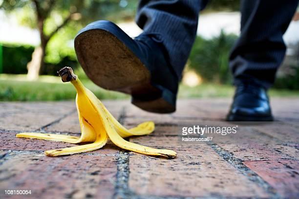 banana peel on the paved road