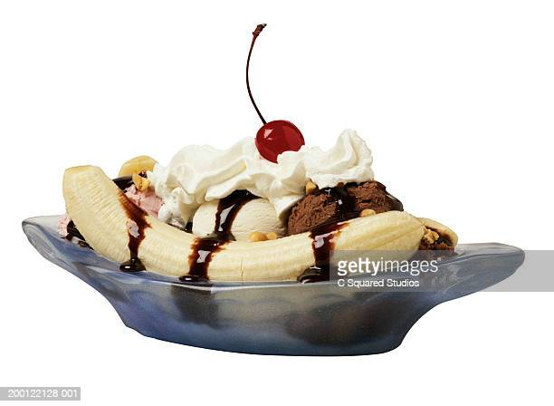 Banana split in blue dish