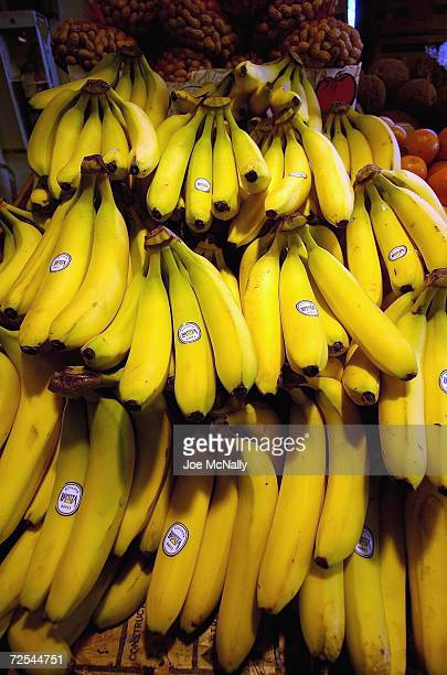 Bananas are for sale at one of the many openair produce markets on tiny Granville Island April 18 2004 in Vancouver Canada Though Canada's third...