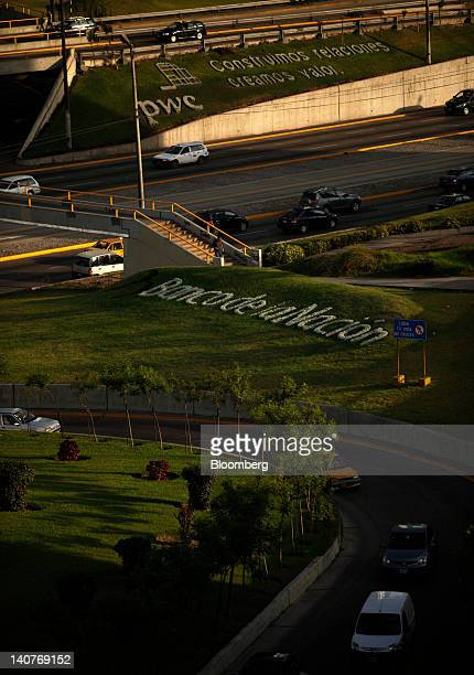 Banco de la Nacion is spelled out in a flower bed in San Isidro the financial district of Lima Peru Friday March 2 2012 Peru's economy expanded 55...