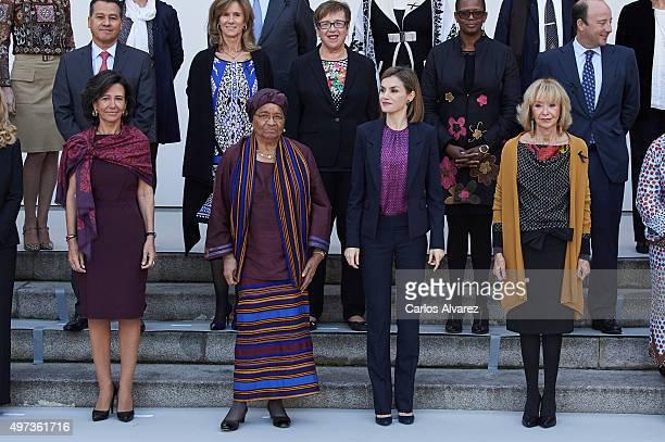 Banco Santander Chairman Ana Patricia Botin Liberian President Ellen Johnson Sirleaf Queen Letizia of Spain and 'Mujeres Por Africa' Foundation...