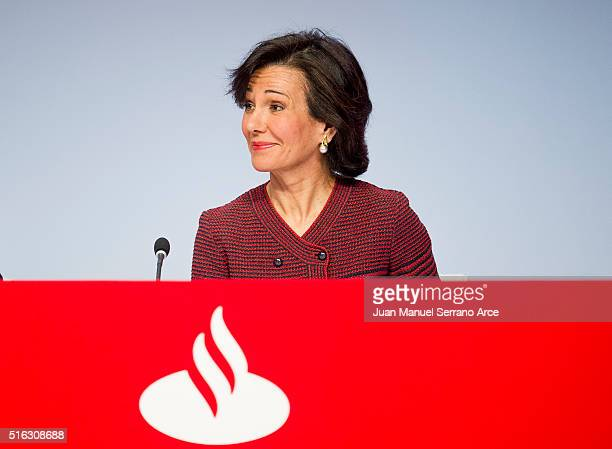 Banco Santander Chairman Ana Patricia Botin listens during the annual shareholders meeting at the Palacio Exposiciones on March 18 2016 in Santander...