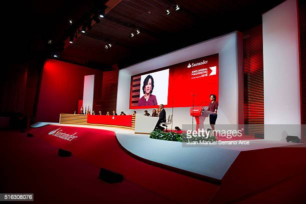 Banco Santander Chairman Ana Patricia Botin speaks during the annual shareholders meeting at the Palacio Exposiciones on March 18 2016 in Santander...