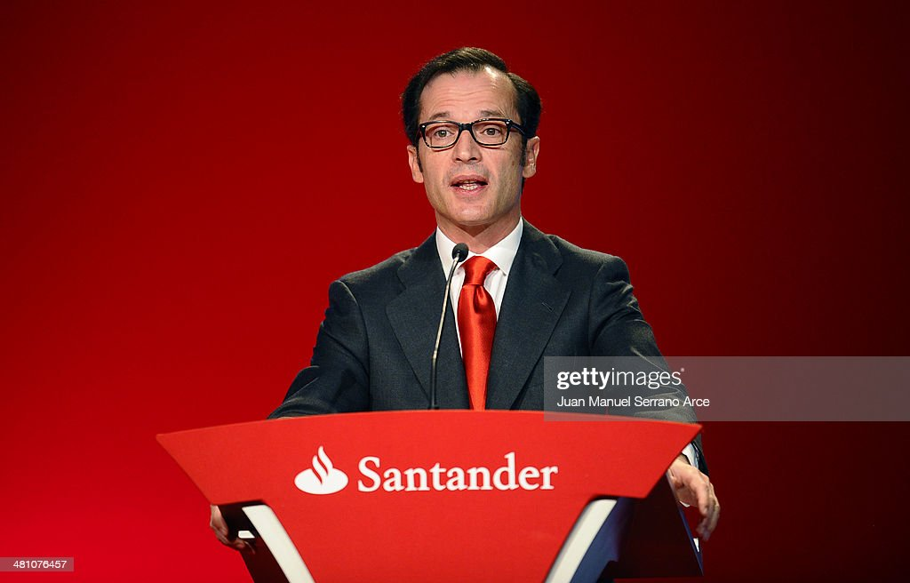 Banco Santander's chief executive officer Javier Marin speaks during the annual shareholders meeting at the Palacio Exposiciones on March 28, 2014 in Santander, Spain. As Spain tries to edge out of recession Banco Santander is looking for more growth as the euro zone's biggest bank.