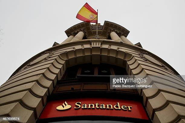 Banco Santander's logo is on display outside an office of the bank on February 2 2015 in Madrid Spain The eurozone's largest bank announced profits...
