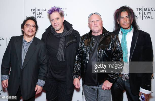 Band A Flock of Seagulls attends the premiere of 'Dare to be Different' during the 2017 Tribeca Film Festival at Spring Studios on April 27 2017 in...