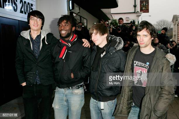 Band Bloc Party arrives at The Shockwaves NME Awards 2005 at Hammersmith Palais on February 17 2005 in London The annual music awards sees winners...