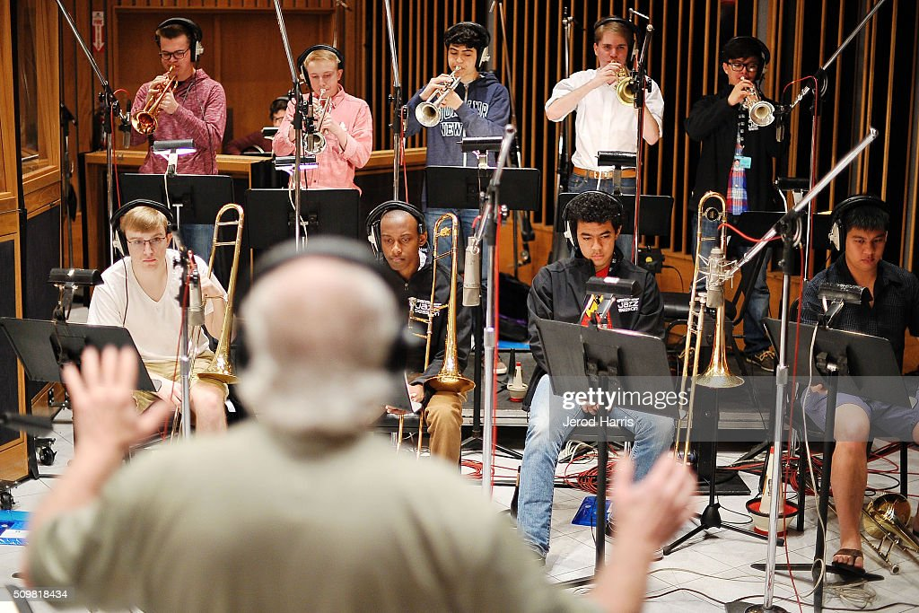 Band Director Justin DiCioccio leads the GRAMMY Jazz Camp band at the GRAMMY Foundation(R)'s GRAMMY Camp(R) - Jazz Session studio recording at Capitol Studios & Mastering at Capitol Records Studio on February 12, 2016 in Hollywood, California.