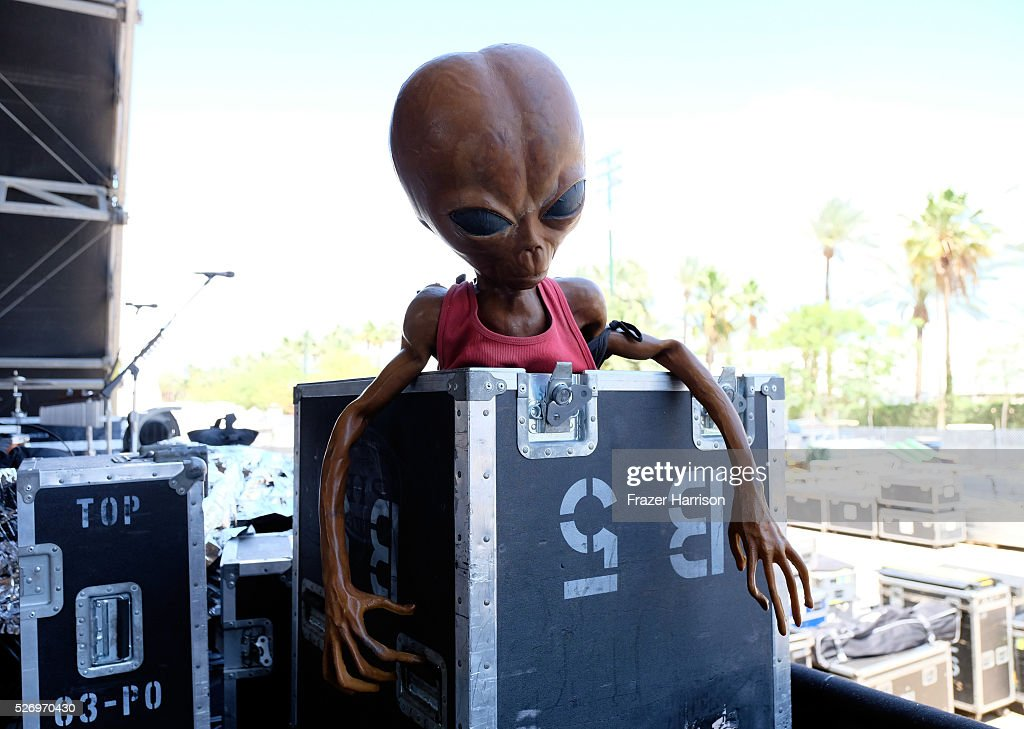 Band equipment is seen during 2016 Stagecoach California's Country Music Festival at Empire Polo Club on May 01, 2016 in Indio, California.