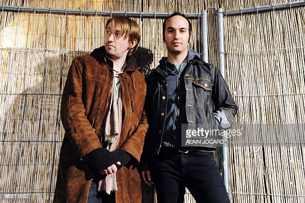 US band Fool's Gold's musicians Lewis Pesaco and Luke Top poses on April 16 2010 in Bourges during the 34th edition of Le Printemps De Bourges rock...