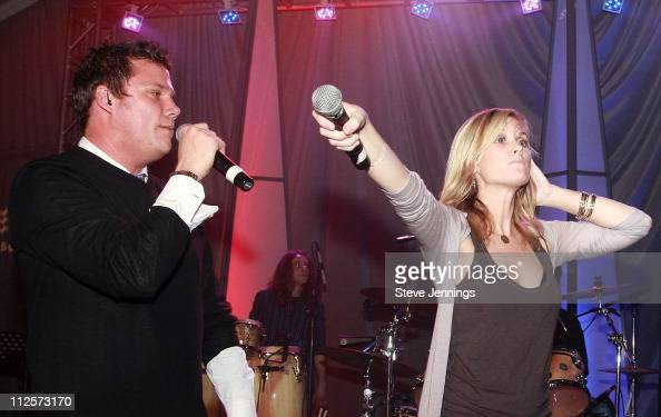 Band From TV featuring actors Bob Guiney and Bonnie Somerville performing at Dockers Final Round at the Inn at Spanish Bay on February 9 2008 in...
