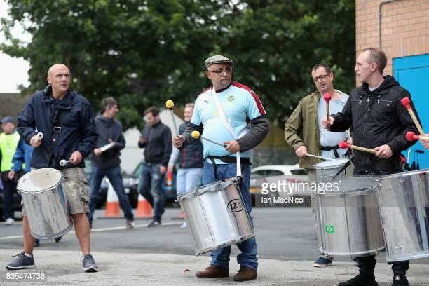 A band is seen outside the stadium prior to the Premier League match between Burnley and West Bromwich Albion at Turf Moor on August 19 2017 in...