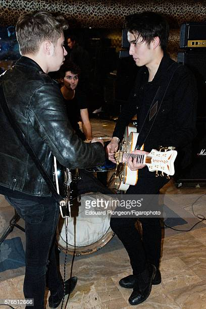 Band Last Train is photographed for Madame Figaro on May 9 2016 in Paris France JeanNoël Scherrer Jacket tshirt and jeans Antoine Bashung Tshirt...