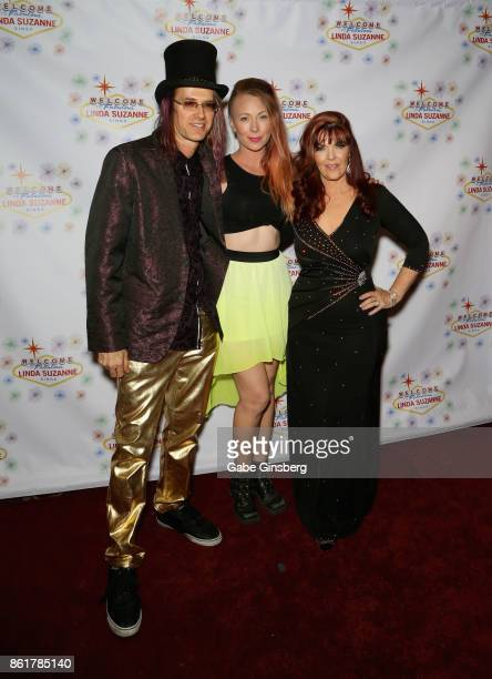 Band leader John Wakerman makeup artist Wendy Ryan and singer Linda Suzanne attend the debut of 'Linda Suzanne Sings Divas of Pop' at the South Point...