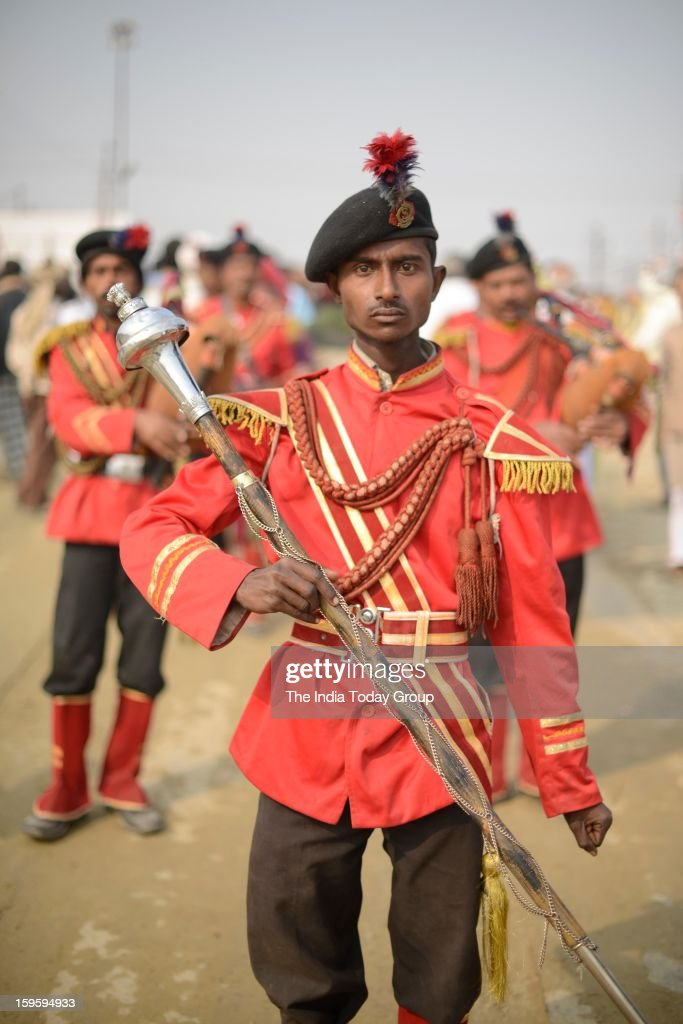 A band leader leading a religious procession in Allahabad on January 15, 2013.