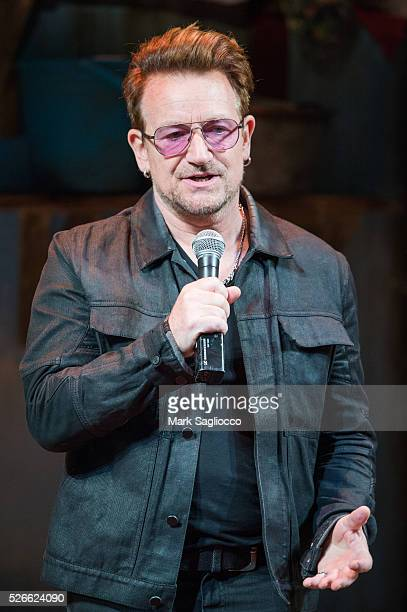 U2 band member Bono attends 'Eclipsed' To Launch A Dedications Series In Honor Of Abducted Chibok Girls Of Northern Nigeria at Golden Theatre on...