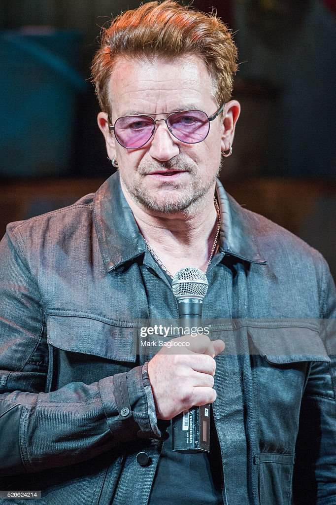 U2 Band member Bono attends 'Eclipsed' To Launch A Dedications Series In Honor Of Abducted Chibok Girls Of Northern Nigeria at Golden Theatre on April 30, 2016 in New York City.