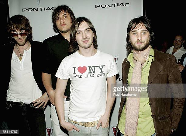 Band members Chris Cester Mark Wilson Cameron Muncey and Nic Cester from the group 'Jet' attend the after party for the live unveiling for the...