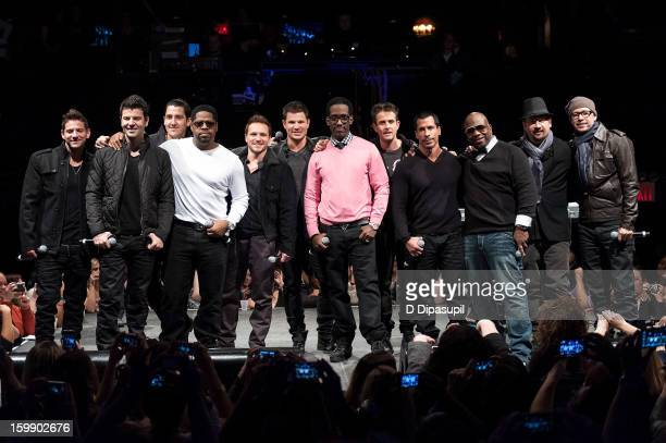 Band members from New Kids on the Block 98 Degrees and Boyz II Men Jeff Timmons Jordan Knight Jonathan Knight Nathan Morris Drew Lachey Nick Lachey...