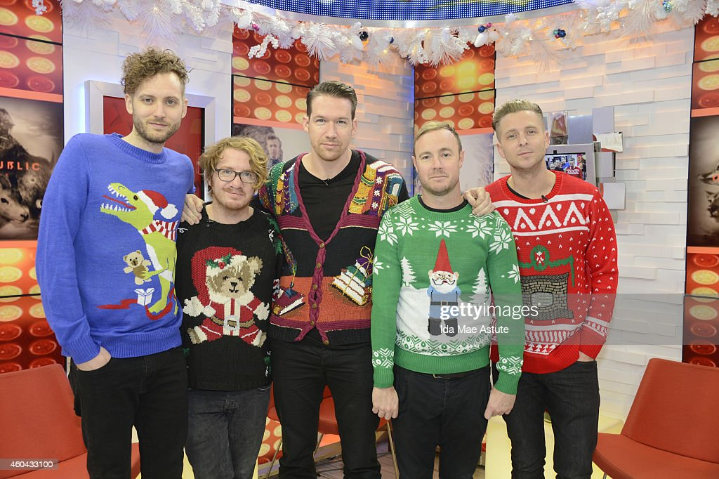 AMERICA - Band members from One Republic participate in the 'Ugly Sweater Showdown' on GOOD MORNING AMERICA, 12/12/14, airing on the ABC Television Network. (