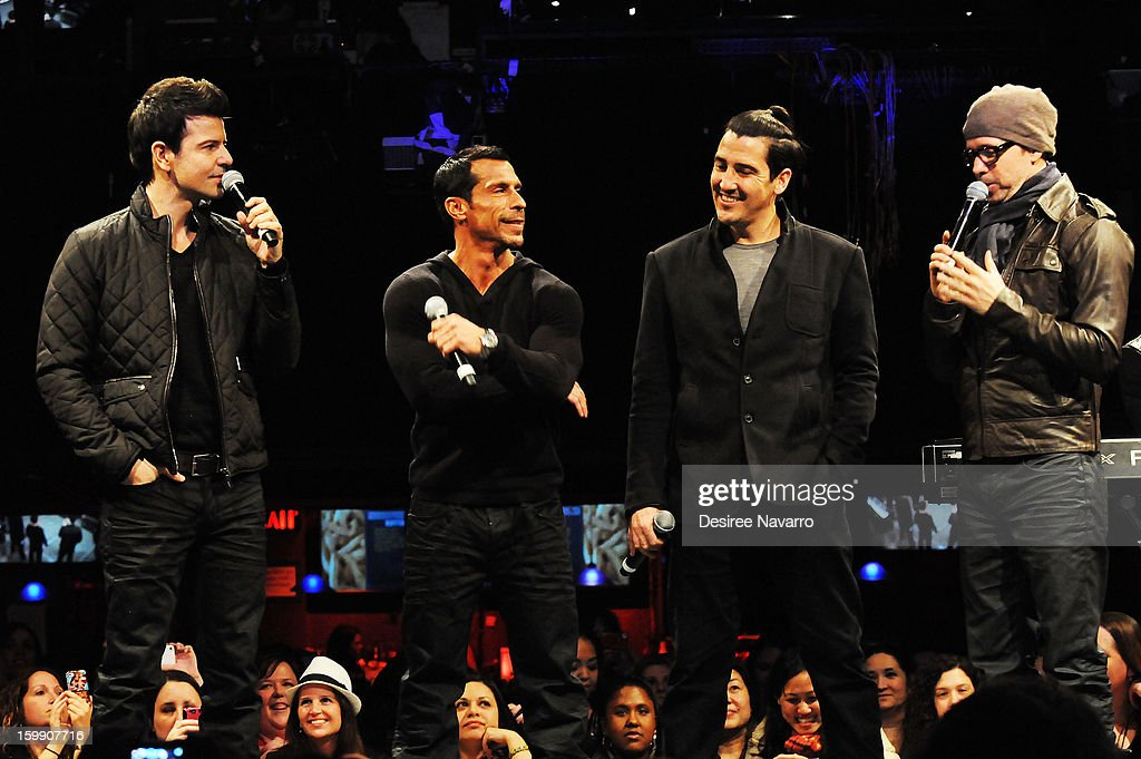 Band members from the New Kids On The Block (L-R) Jordan Knight, Danny Wood, Jonathan Knight and Donnie Wahlberg speak during the New Kids On The Block Special Announcement at Irving Plaza on January 22, 2013 in New York City.