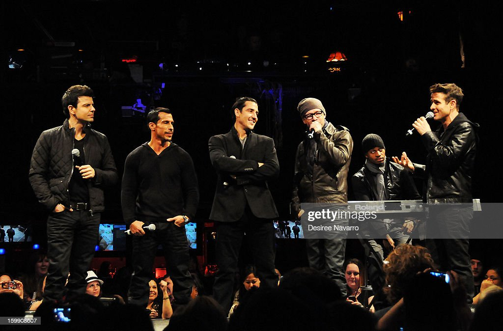 Band members from the New Kids On The Block (L-R) Jordan Knight, Danny Wood, Jonathan Knight, Donnie Wahlberg and Joey McIntyre speak during the New Kids On The Block Special Announcement at Irving Plaza on January 22, 2013 in New York City.