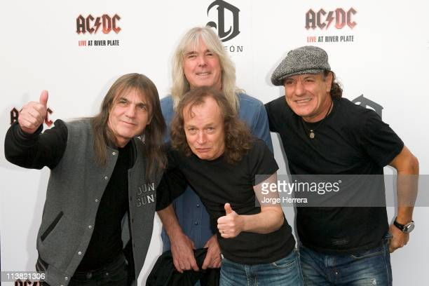 AC/DC band members Malcolm Young Cliff Williams Angus Young and Brian Johnson attend the Exclusive World Premiere Of AC/DC 'Live At River Plate'...