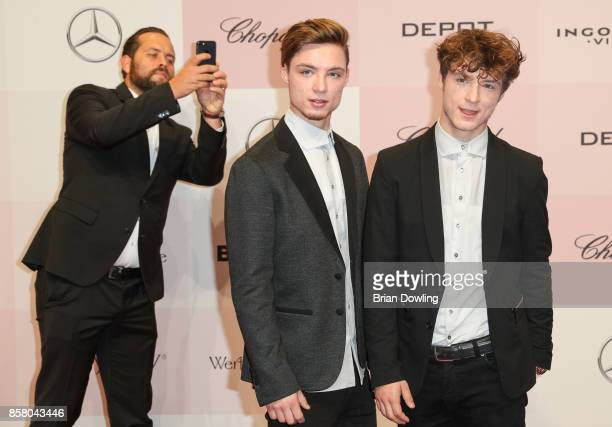 Band members of Die Lochis arrive at Tribute To Bambi at Berlin Station on October 5 2017 in Berlin Germany