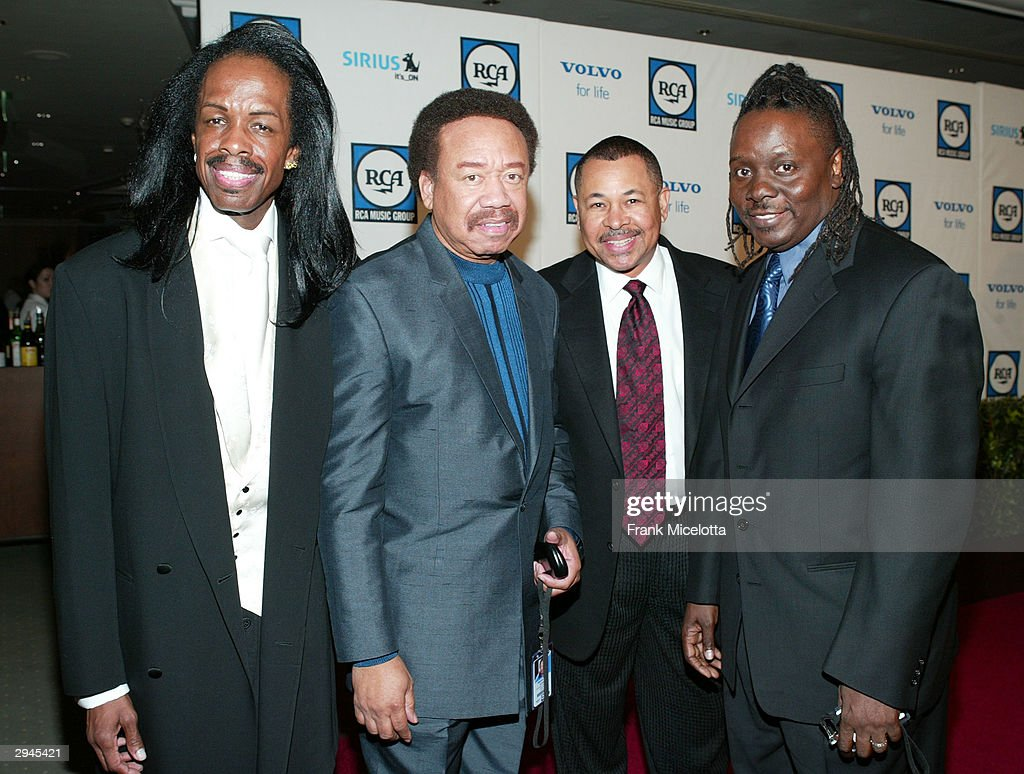 Band members of Earth Wind and Fire attend Clive Davis' legendary Pre-Grammy party at the Beverly Hills Hotel on February 7, 2004 in Beverly Hills, California.