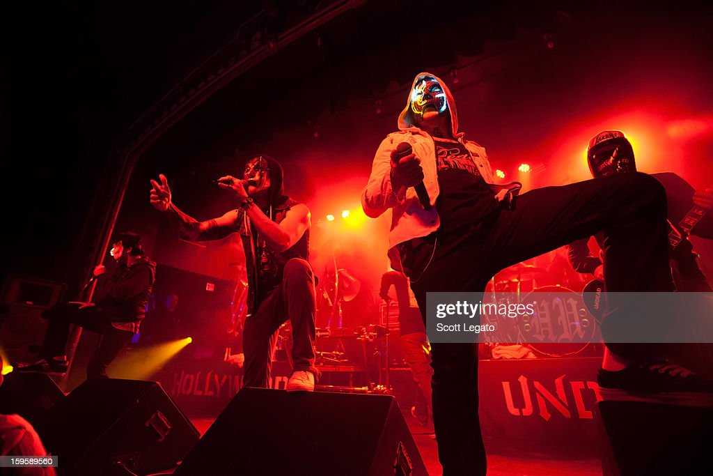 Band Members of Hollywood Undead performs in concert at St. Andrew's Hall on January 16, 2013 in Detroit, Michigan.