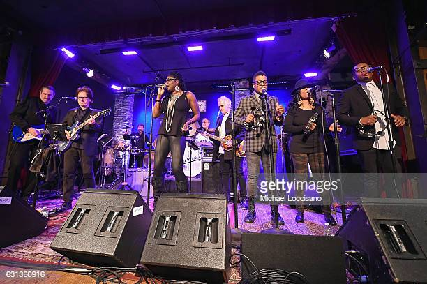 "Band members perform onstage with Max Weinberg at an event hosted by Inside Access from Chase to celebrate the inaugural ""Best Credit Card Special..."