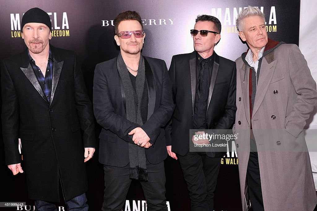 The Edge, <a gi-track='captionPersonalityLinkClicked' href=/galleries/search?phrase=Bono+-+Singer&family=editorial&specificpeople=167279 ng-click='$event.stopPropagation()'>Bono</a>, Larry Mullen, Jr. and Adam Clayton attend 'Mandela: Long Walk To Freedom' screening hosted by U2, Anna Wintour, Bob and Harvey Weinstein with Burberry at Ziegfeld Theater on November 25, 2013 in New York City.