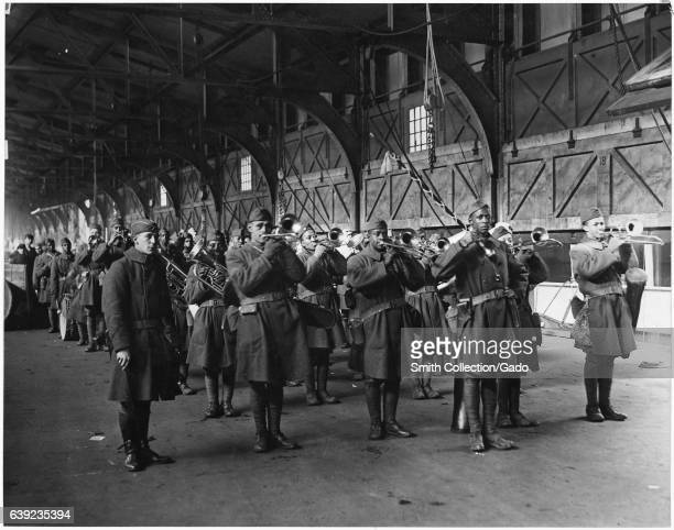 Band of brave and heroic African American soldiers of the 814th Infantry returning from France aboard the Transport Celtic with Lieutenant Maxom and...