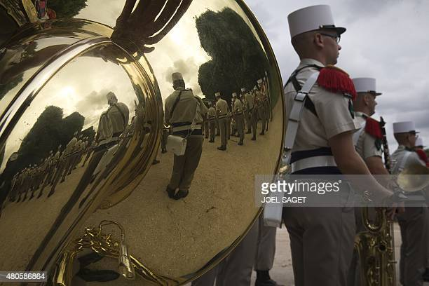A band of the French Legion Etrangere from the 3rd REI based in Kourou French Guiana prepares to play music during a military ceremony in the...