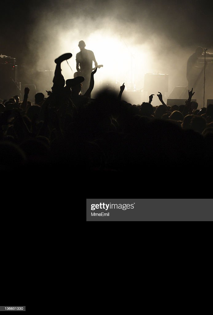 Band on the stage in a rock concert : Stock Photo