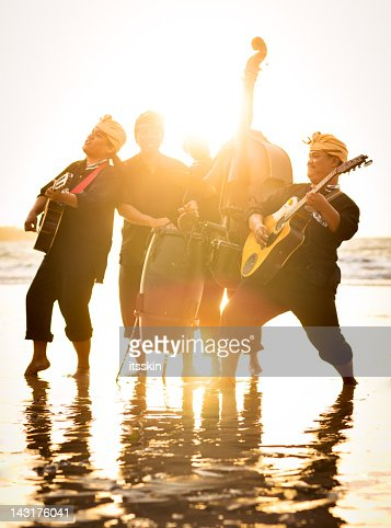 Band performing on the beach : Stock Photo