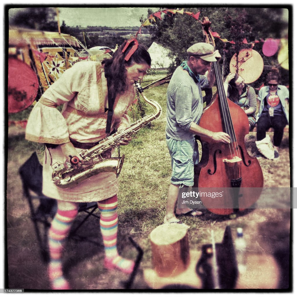 A band performs in the healing fields during day 4 of the 2013 Glastonbury Festival at Worthy Farm on June 30, 2013 in Glastonbury, England.