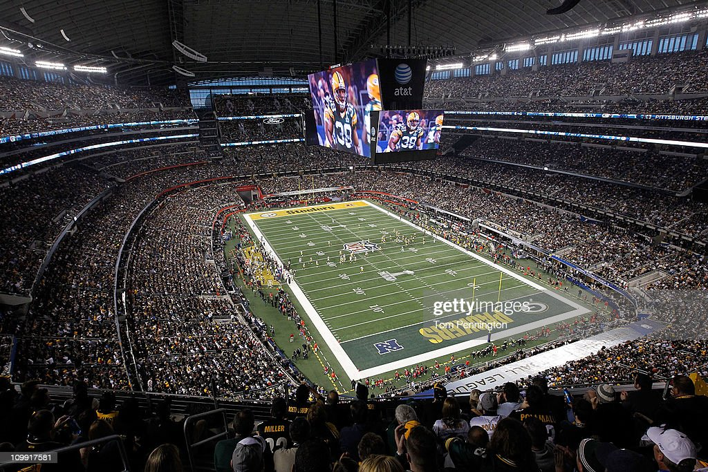 A band performs prior to Super Bowl XLV at Cowboys Stadium on February 6 2011 in Arlington Texas