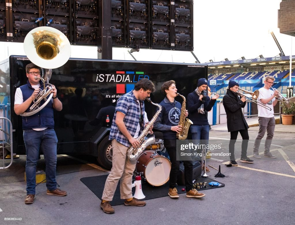 A band play for fans in the stadium during the Guinness Pro14 Round 6 match between Cardiff Blues and Dragons on October 6, 2017 at Cardiff Arms Park in Cardiff, Wales.