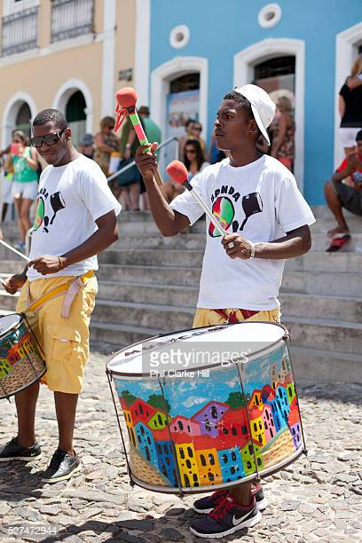 Band playing drums in the street Pelourinho Salvador Bahia Brazil