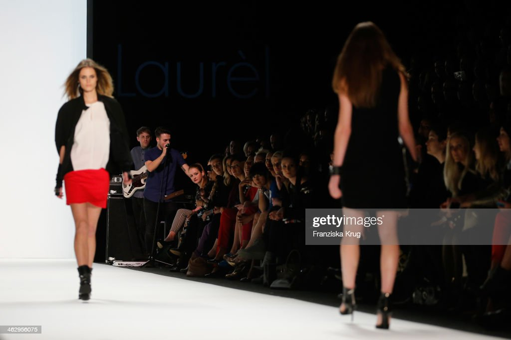 A band plays at the Laurel show during Mercedes-Benz Fashion Week Autumn/Winter 2014/15 at Brandenburg Gate on January 16, 2014 in Berlin, Germany.